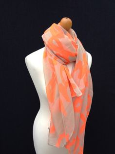 CREAM ORANGE GRAFFITI PRINT LADIES SCARF WRAP SARONG WOMENS PASHMINA NEW