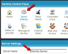 """Click """"Server Settings"""" on the menu at the top; then type in the desired Ventrilo Server Name in the """"Server Name"""" input box and then click """"Save Settings and Restart Server"""" button at the bottom."""