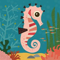 seahorse, via Flickr. colors, textures, little hearts on it's back.