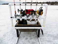Homemade Ice Fishing Stuff Tip Up Organization Ice