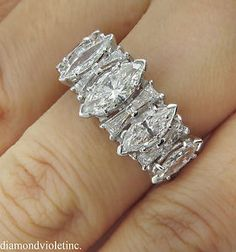 2.65ct Estate Vintage Marquise and Baguette Diamond Wedding Anniversary Band Ring in Platinum