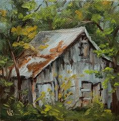 "Daily Paintworks - ""Hidden Gem-mini painting"" - Original Fine Art for Sale - © Veronica Brown Farm Paintings, Art Painting, Cottage Art, Art, Canvas Art, Barn Art, Landscape Art, Barn Painting, Country Art"