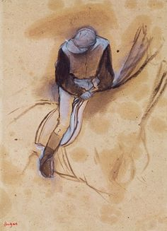 edgar degas pastels | Edgar Degas - Jockey flexed forward standing in the saddle, 1860-90 ...