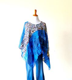 One Size-Cerulean Blue Patchwork Poncho Top  gypsy tunic