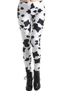 Dairy Cow Print Leggings. Description These Leggings have been crafted from elastic fabric design, featuring dairy cow print, a stretchy waist and all in a soft-touch stretch finish. Fabric Dacron and Spandex. Washing 40 degree machine wash , low iron. #Romwe
