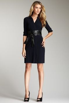 Taylor Leather Belted Wrap Dress