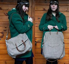 Foldover Weekender in chocolate herringbone
