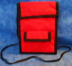 NECK  Red  ID WALLET on cord or wear on belt for credentials, cards, money TA8