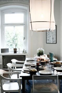 Dining room: white walls/white pendant lighting z2 ay illuminate