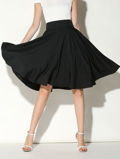 Black High Waist Midi Skater Skirt | Choies