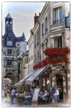 Street in Amboise, Loire Valley region in France
