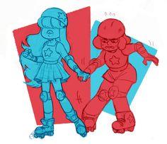 Steven universe, Sapphire and Ruby Cartoon Drawings, Cool Drawings, Cartoon Art, Steven Universe Personajes, Tumblr Cartoon, Chibi, Lapidot, Universe Art, Cartoon Network