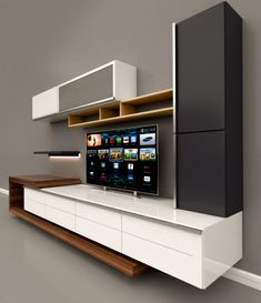Rani Wall Shelf Tv Unit With Bookcase Wall Mounted Cabinet With Metal Legs . - Rani Wall Shelf Tv Unit With Bookcase Wall Mounted Cabinet With Metal Legs … - Living Room Tv Unit Designs, Living Room Wall Units, Tv Wall Unit Designs, Living Rooms, Modern Tv Cabinet, Modern Tv Wall Units, Tv Unit Decor, Tv Wall Decor, Tv Wanddekor
