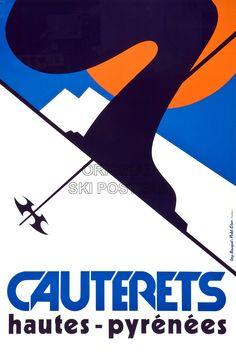 RJ105 Cauterets Original Ski Poster Affiche Originale