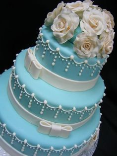 Light Blue Wedding Cake. i would put white lilies on top! | Goin ...