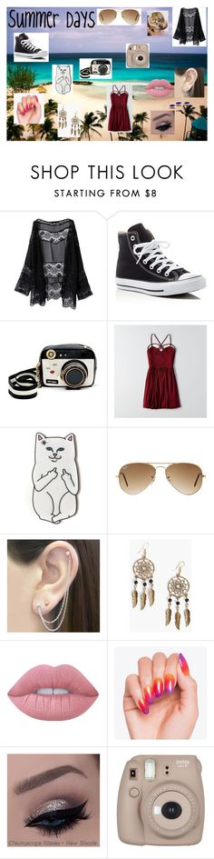 """""""Summer Days"""" by agitae on Polyvore featuring Converse, Betsey Johnson, American Eagle Outfitters, RIPNDIP, Ray-Ban, Otis Jaxon, Boohoo and Lime Crime"""