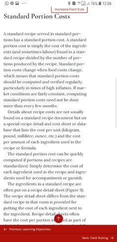 Standard Recipe, Food Cost, Recipes, Recipies, Recipe
