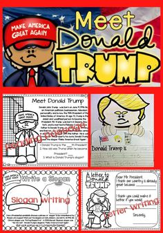 Donald Trump Unit - Great for introducing our new President to young learners. Simple facts about Donald Trump. President Facts, New President, Donald Trump Facts, States And Capitals, 1st Grade Writing, Happy Birthday America, Presidential Inauguration, Thematic Units, American Symbols