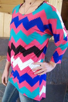 Made USA Hi-low dark pink chevron print pattern blouse top Women top s – countryliving37