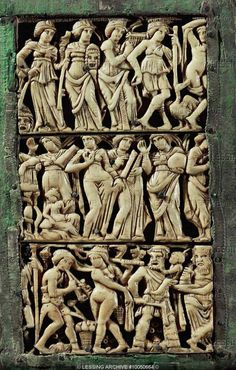 Byzantine ivory  5th  Three rows of actors with masks,panel of diptych of Bauges,  France  Museo del Louvre