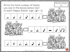 EASTER Music worksheets!  Easter Rhythm Activities -  ♫ CLICK through to see the set or save for later!  ♫    #musiceducation