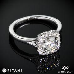 Ritani French-Set Halo Diamond Band Engagement Ring.