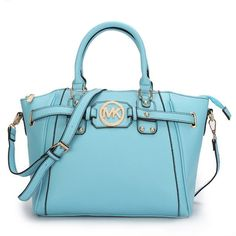 $74.99 Newest Michael Kors Pebbled Leather Large Blue Satchels have Arrived!