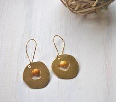 Raw Brass Earrings by FeminaHandmade on Etsy