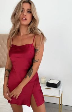 Jordyn Dress Red Satin - Women's style: Patterns of sustainability Satin Dresses, Sexy Dresses, Dress Outfits, Short Dresses, Fashion Dresses, Formal Dresses, Silk Satin Dress, Dance Dresses, Frack