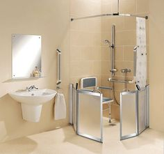 SUPREME half height shower enclosures particularly suited for disabled shower facilities and wet rooms where a carer assistance may be necessary. Ada Bathroom, Handicap Bathroom, Bathroom Wall, Bathroom Safety, Home Design Diy, House Design, Design Ideas, Bifold Shower Door, Shower Doors
