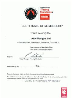 "Our new certificate of the ""Buy With Confidence"" Trading Standards approved scheme"
