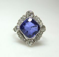 Art Deco. Sapphire and Diamond Cluster Ring, c1920s.