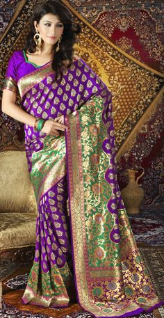 Look gorgeous and feel comfortable with this #Purple Brocade #Silk #Saree with Blouse.