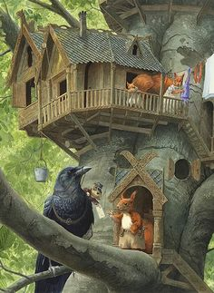 'Air Mail Delivery' by Chris Dunn Illustration. The post-mouse and crow deliver a letter to the red squirrel family, in their treetop house. Art And Illustration, Book Illustrations, Illustration Children, Chris Dunn, Art Fantaisiste, Arte Indie, Photo D Art, Fairytale Art, Art Base