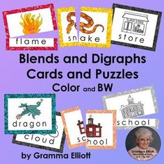 Blends and Digraph Vocabulary Cards and Puzzles in Color and BW | TpT Teaching Phonics, Teaching Resources, Teaching Ideas, Teaching Special Education, Elementary Education, Kids Learning, Student Learning, Blends And Digraphs, Illustrated Words