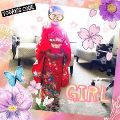 my daughter's tea party style♡ I don't like thIs kimono,just washable.