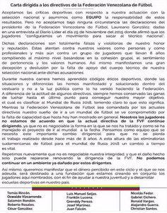 Carta de la Vinotinto renunciando a jugar mientras este la actual directiva de la FVF