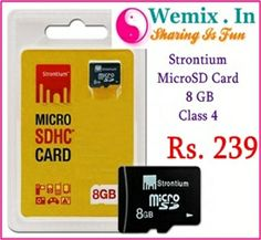 strontium 8gb micro 35663 Strontium MicroSD Card 8 GB Class 4 Rs. 239 Memory Storage, Cards, Fun, Maps, Playing Cards, Hilarious