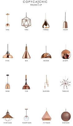Copper Pendant Lighting Roundup : Our fave copper lighting picks by Copy Cat Chic luxe living for less budget home decor 16 of our favorite copper and rose gold chandeliers and pendants Round Pendant Light, Copper Pendant Lights, Copper Lamps, Copper Lighting, Modern Lighting, Copper Light Fixture, Bar Lighting, Ceiling Lighting, Copper Hanging Lights