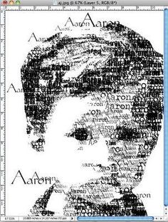 photoshop elements trick for making face out of child's name / out of text