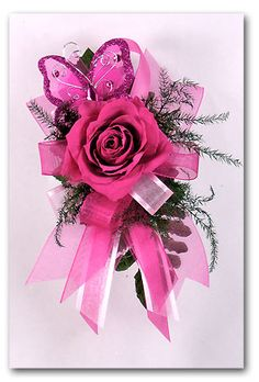 Unusual Wrists Corsage for Prom | MDC1-HPB Jeweled Butterfly Hot Pink Mother's Day Corsage