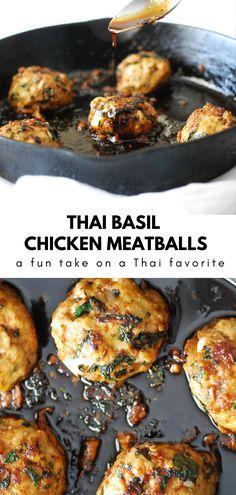 Asian Recipes, Healthy Recipes, Thai Basil Recipes, Asian Foods, Yummy Recipes, Thai Basil Chicken, Winner Winner Chicken Dinner, Chicken Meatballs, Carne