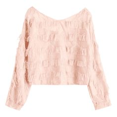 Cropped Fringes Blouse Pinkbeige (315 ARS) ❤ liked on Polyvore featuring tops, blouses, zaful, cut-out crop tops, fringe top, pink blouse, pink crop top and fringe crop tops