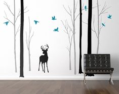 deer in the forest black/grey wall sticker by zazous | notonthehighstreet.com