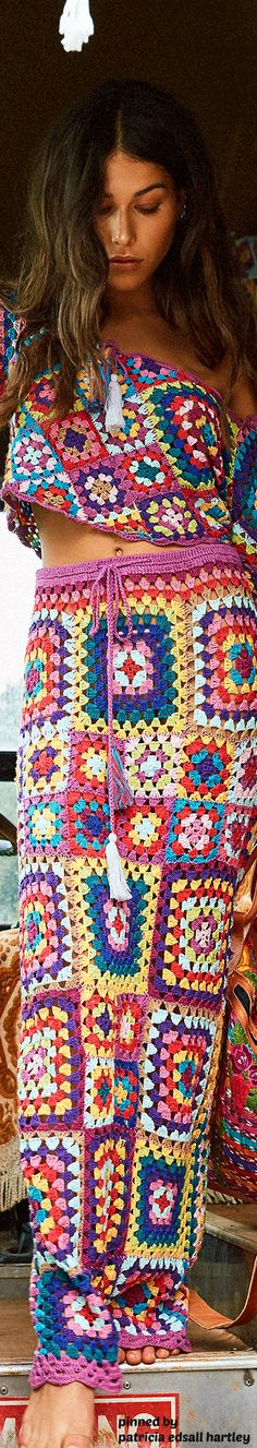 Knitted multi color patchwork maxi skirt with an off the shoulder crop top