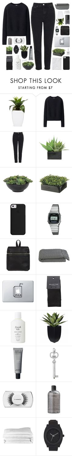 """DIANA"" by feels-like-snow-in-september ❤ liked on Polyvore featuring Uniqlo, Topshop, Lux-Art Silks, Casio, Kara, Crate and Barrel, Obsessive Compulsive Cosmetics, SELECTED, Fresh and MAC Cosmetics"
