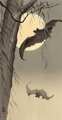 "Bats In Moonlight ca. 1910 by Ohara Koson Japan: Woodblock print; ink and color on paper. ""Brilliant moon, is it true that you too must pass in a hurry? Ohara Koson, Tag Art, Art Chinois, Art Asiatique, Japanese Painting, Japanese Prints, Japan Art, Moon Art, Woodblock Print"