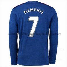 Jalkapallo Pelipaidat Manchester United 2016-17 Memphis 7 Vieraspaita Pitkähihainen