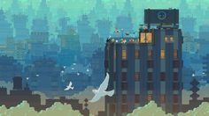 This HD wallpaper is about blue building illustration, Super Time Force, pixels, pixel art, Original wallpaper dimensions is file size is Pixel Art Background, Cartoon Background, Animation Background, Background Pictures, Anime City, Building Illustration, Illustration Art, Pixel Games, Film D'animation