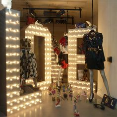 These big box letters use to be an issue with heat and wiring but now led cool lighting make them much easier, lanvin noel2013 show light letters #visual_merchandising #retail